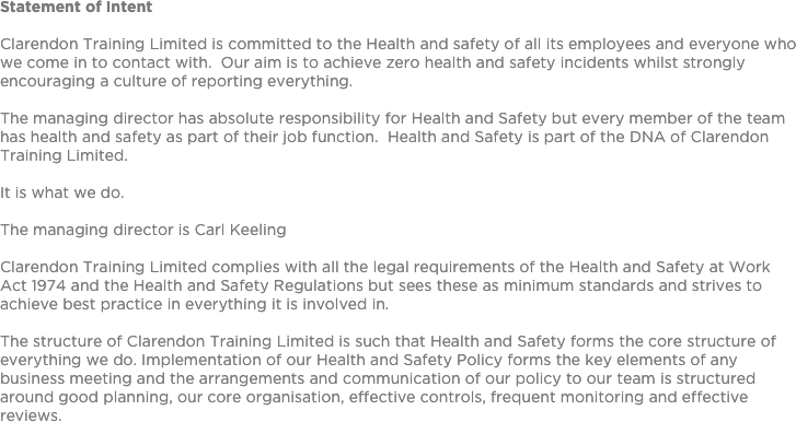 hse statement of intent